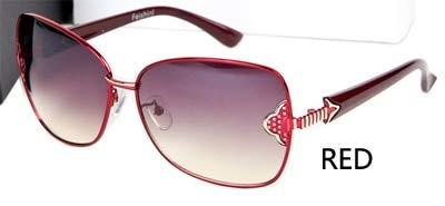 LKVNHP Qualität Ermüdungsbeständigkeit Lentes De Sol Muje Schmetterling Echte visuelle Farbe Vintage Sonnenbrille Frauen MetallMarkendesigner WTYJ199 rot