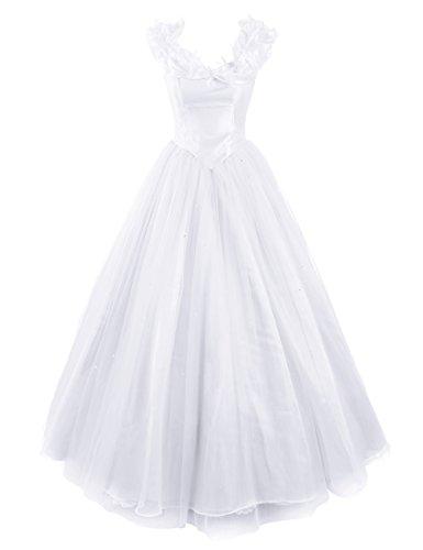 Dresstells Damen Wunderschön Prinzessin kleider Karnevalskostüme Ballkleider Cinderella Weiß Übergröße (Frauen Cinderella Kleid)