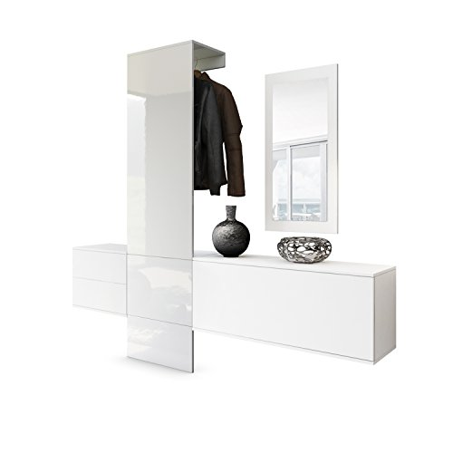 Vladon Garderobe Wandgarderobe Carlton Set 1, Korpus in Weiß matt/Paneel in Weiß Hochglanz