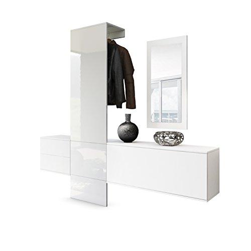 garderoben sets Vladon Garderobe Wandgarderobe Carlton Set 1, Korpus in Weiß Matt/Paneel in Weiß Hochglanz