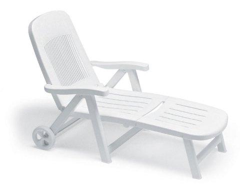 Scab lettino da sole chiudibile regolabile con ruote elegant bianco in resina