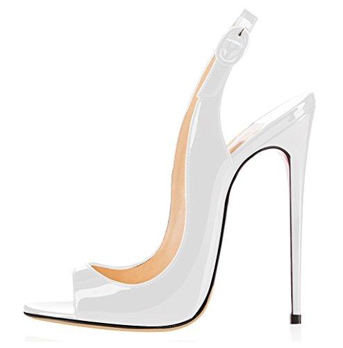 elashe - Scarpe da Donna - Peep Toe Slingback Sandali - Tacco a Spillo con Cinturino Caviglia Fibbia Bianco EU44