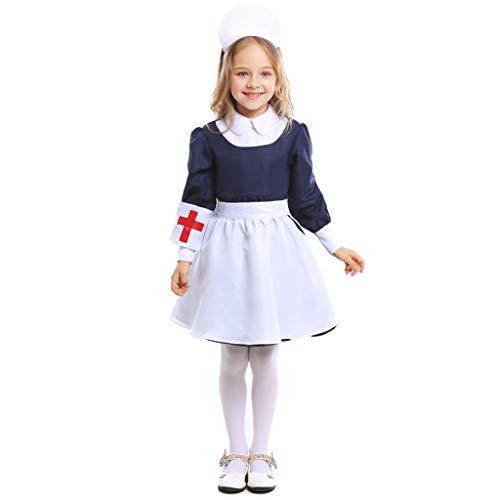 CJJC Kinderkrankenschwester-Rollenspiel-Uniform, Mädchen-Blauer weißer Mädchen-Krankenschwester-Rock mit dem Hut ideal für Festival-Partei-Schulleistungs-Gebrauch L (Kreativ Krankenschwester Kostüm)