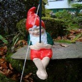 FISHING GNOME ~ WILLIAM ~ FISHING SITTING ON EDGE