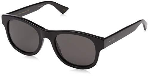 Gucci Damen GG0091SA 001 Sonnenbrille, Schwarz (Black/Grey), 53