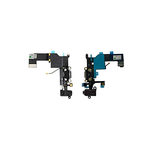 FONFON Dock Connector USB Charger Buchse Charging Ladebuchse Audio Flex Antenne Mikrofon für Apple iPhone 5S Schwarz