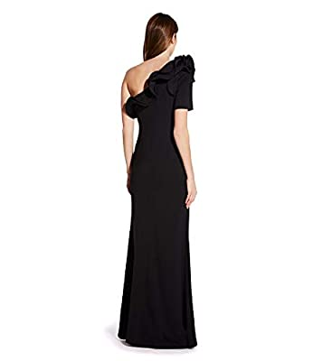 Adrianna Papell Black Long Draped Dress with One Shoulder Sleeve