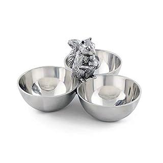 Arthur Court Squirrel 3 Bowl Nut/Snacks / Candy Ensemble - Cast Aluminum Hand Polished 6