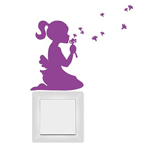"""Wandtattoo Loft Aufkleber """"Mädchen mit Pusteblume und Pollen"""" für Lichtschalter, Steckdose oder Wand / Lichtschalter / Steckdose / Sticker / Aufkleber / Wandaufkleber / 54 Farben / elfenbein /"""