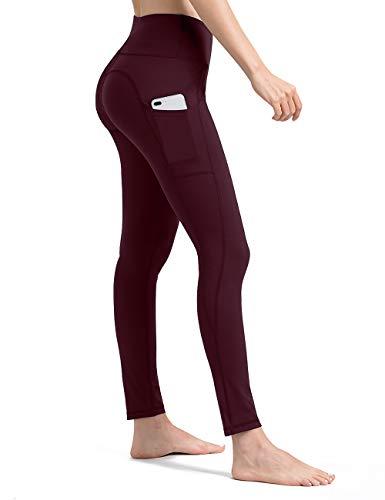 ALONG FIT Leggings Damen mit Taschen, Nicht durchsichtig Sporthose Damen Dehnbar Yogahosen für Damen, Burgunderrot, XXL