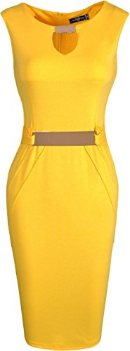 Jeansian Femme Cocktail Party Sexy Fashion Crayon Casual Slim Occupation Robes WKD187 yellow