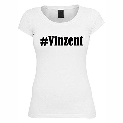 T-Shirt #Vinzent Hashtag Raute für Damen Herren und Kinder ... in den Farben Schwarz und Weiss Weiß