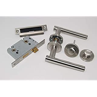 Straight T Bar Door Handle Pack Bathroom Set Satin Stainless Steel For 35mm Thick Doors