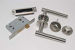 Straight T Bar Door Handle Pack Bathroom Set Satin Stainless Steel For 35mm Thick Doors