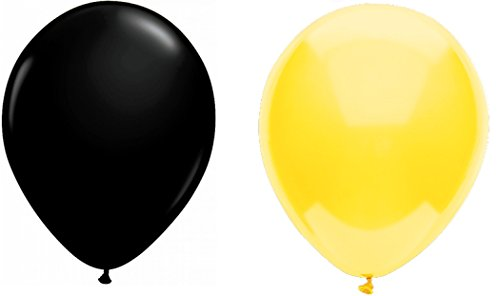 INERRA Globos - Pack de 50 unidades (25 x amarillo y 25 x negro) Látex 10' para helio o aire - cumpleaños y boda