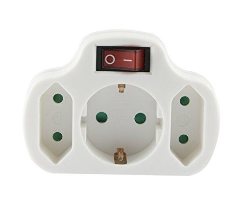 Multistecker Adapterstecker Schutzkontakt Verteiler Mehrfachstecker 3-fach 4-fach 2 fach (1 Schuko +2 Eurp und Schalter)