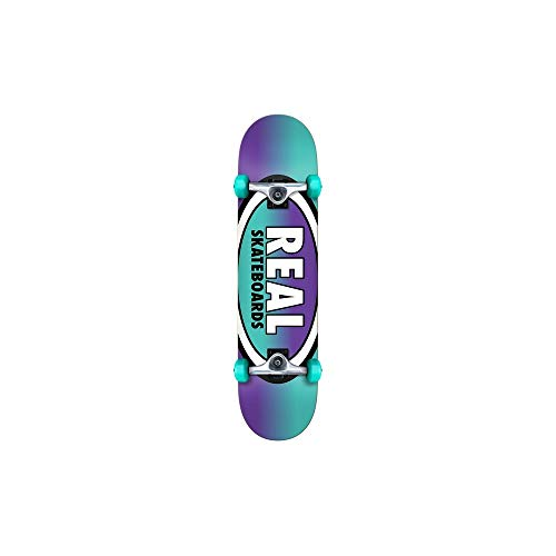 Real Turquoise Purpur Oval Fades - 8 Inch Skateboard Komplett (One Size, Blau)