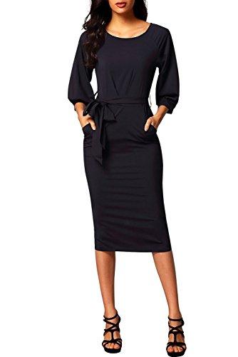 TOUVIE Damen Rundhals Knielang Abendkleid Elegant Vintage Etuikleid Bleistiftkleid Business Kleid...