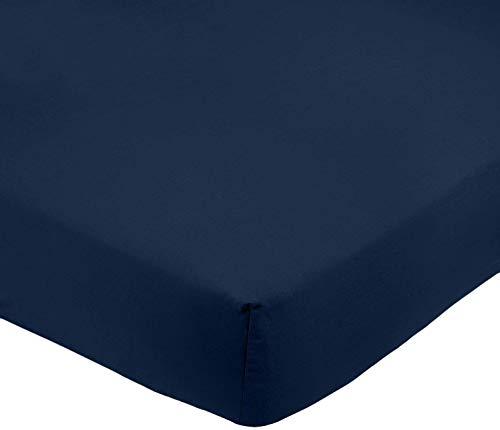 AmazonBasics Drap-housse en microfibre Bleu marine 160x200x30cm