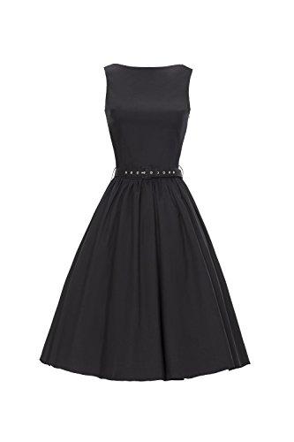 iLover 50s Vintage Rockabilly Blumenkleid Hepburn Stil Partykleid Cocktailkleid 50er Jahr Abendkleid (EU 42(XL), (Rock Kostüme 50er Kleid Jahre)
