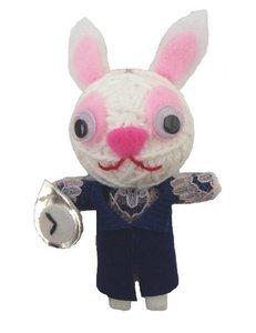 Weiß Kaninchen Alice Im Wunderland String Doll Voodoo-Puppe Schlüsselanhänger Glücksbringer