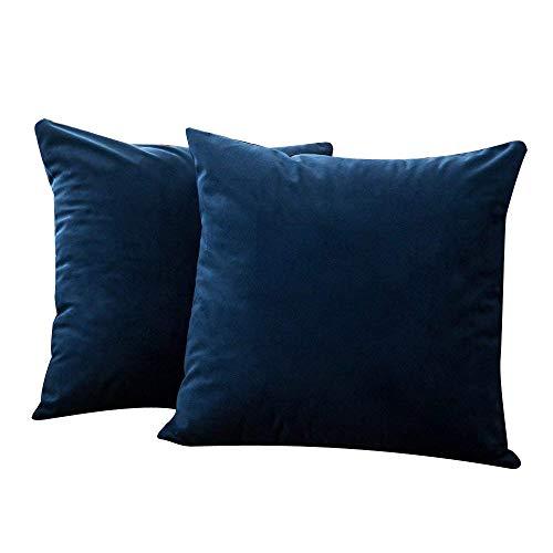 MEIbax 2 STÜCK Samt Weichen Platz Throw Pillow Covers Set Kissen Fall Für Sofa Schlafzimmer Auto Home Decor Zierkissenbezüge (Dunkelblau)