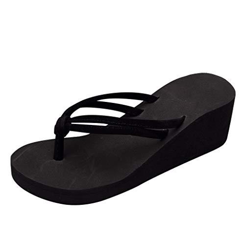 Damen Schuhe, Mode Hausschuhe Sommer Slipper Flip Flops Strand Keil Dicke Sohle Schuhe mit Absatz Flipflop Lässige Schuhe für zu Hause Stiefel Strandschuhe High Heel rutschfeste Flip Flops (Schwarze Riemchen Mädchen Kostüm Heel Schuhe)