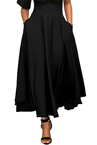 FIYOTE Womens High Waist Front Slit Belted Casual A Line Pleated Long Maxi Skirt S-XXL Medium Black