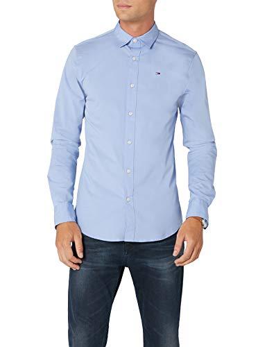 Tommy hilfiger original stretch shirt l/s, camicia uomo, blu (lavender lustre), medium