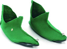 NEW GREEN FELT SHOES ELF PIXIE PETER PAN FANCY (Uk Erwachsene Elf Kostüme)