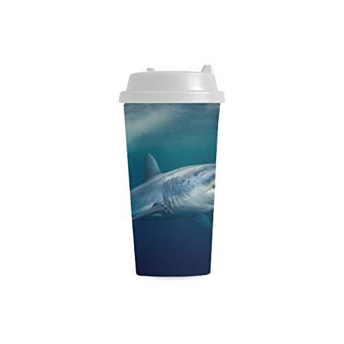 Heftige schreckliche Hai Gewohnheit 16 Unze doppelwandige Plastikisolierte Sport Wasser Flaschen Tassen Pendler Reise Kaffeetassen für Studentenfrauen Milch Teetasse Getränk