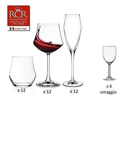 Paganohome rcr ego set vetro, 12 bicchieri, 12 calice vino 12 calice spumante, 36 pezzi made in italy +6 bicchieri omaggio