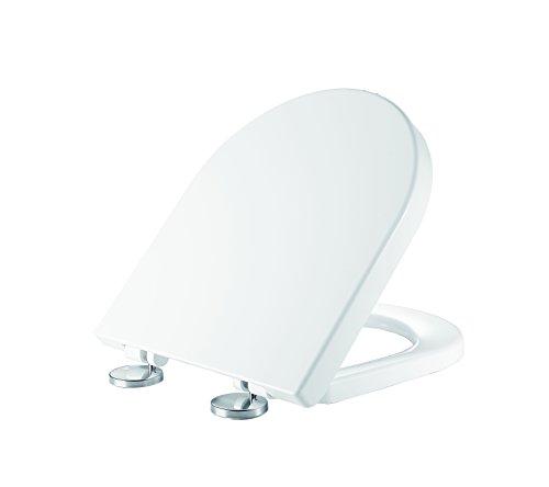 Ultra Weißer D-Shape Soft Close Toilettensitz Einfache Montage und Demontage - Schnelle Befestigung Duroplast Oben Befestigung Antibakteriell