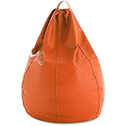 textil-home Diver-Pera-2 Puf - Pera Moldeable XXL Puff, Tejido Polipiel, Doble Repunte, Naranja, 90 x 90 x 135 cm, 320 L