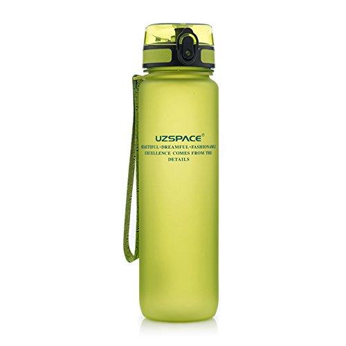 Preisvergleich Produktbild Uzspace Sporthallen Schulen Tritan Wasserflasche Bpa-Frei Wandern Radwandern Wasserflasche Mit Flip-Top Deckel - grün - 1L