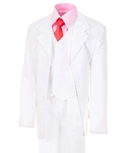 6tlg. Kinder Fest Anzug Kommunionsanzug Smoking Extra Hemd in Vielen Farben M305hrs Hemd Rosa Gr. 4/110/116