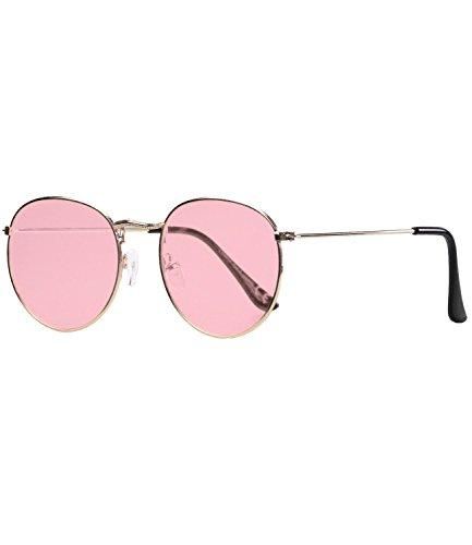 Caripe Damen Herren Retro Vintage Sonnenbrille Metall Lennon runde Gläser- 9040 (gold - rosa getönt)