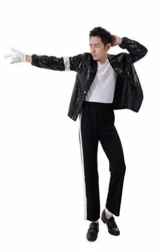 Michael Jackson Halloween Cosplay Sets Erwachsene Kind Cosplay Kostüm Sets MJ Billie Sets Jeans Sets Das 4-teilige Set beinhaltet: Jacke, Hose, Handschuhe, Socken