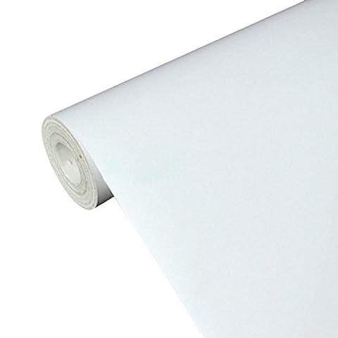 Uniquebella Papier peint Auto-Adhésif 45cmx10M Blanc Stickers Autocollant Muraux Décoration pour Chambre Salon Meuble