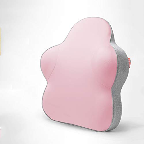Lumbar pillow Lendenkissen Lendenwirbelstütze Pad Gerillt Taille Pad Bürostuhl Lendenwirbelstütze Pad Schwangere Frauen Lendenkissen (Color : Cherry Powder, Size : 40 * 39 * 9cm) -