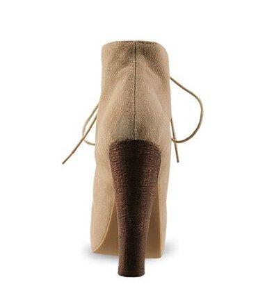 Stiefeletten Absatzschuhe der kurzen Wintermode sexy warme Pelzwölbungsfrauen Damen Stiefel beige Wildleder