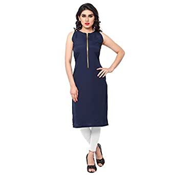 Ziyaa Women's Art Crepe Round Neck Kurti (ZIKUCR121-S_Blue_Small)