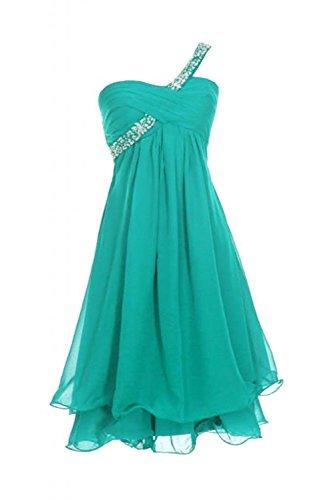 CoutureBridal® Robe courte de soirée cocktail en Chiffon Robe de Demoiselle D'honneur une Epaule avec Faux Diamants,Paillettes pers