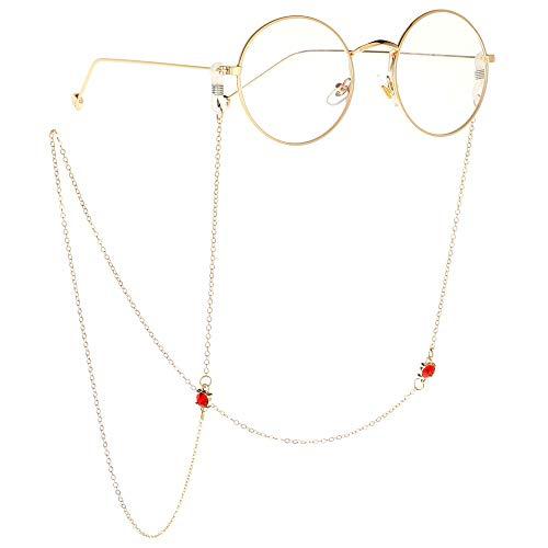 YAzNdom Glaskette Roter Strass Anhänger Brillenkette Kristall Ornamente Brille Kette Brillenketten und Kordeln für Frauen Geeignet für alle Arten von Brillen (Color : Gold, Size : 70cm)