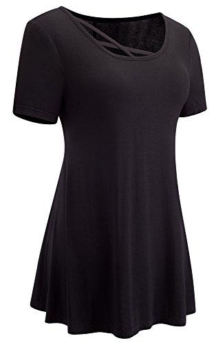 HOMEYEE Frauen Weinlese runder Ansatz Kurzschluss Hülse beiläufige lose Abnutzung, um T-Shirt zu arbeiten T012 Blau