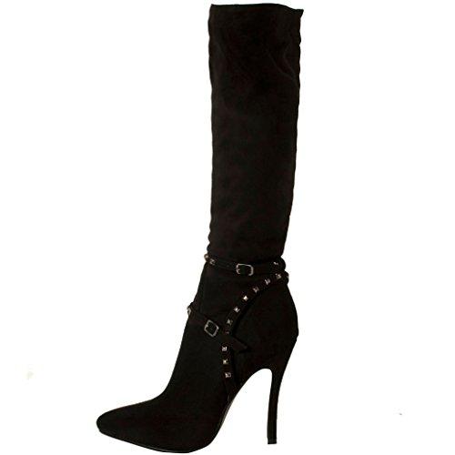 Calaier Femme Causually Designer Fashion Zipper Pointe Toe Rivet Studded Chaussures Talon Haut Talon Chaussures 9.5CM Aiguille Fermeture Éclair Bottes Noir