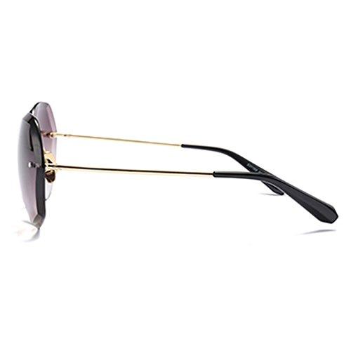 Sonnenbrille HL Die neue 2018 Damen koreanische Welle Retro Harajuku Stil runden Gesicht mit dem gleichen Absatz rote Gläser (Wellen Blockiert)