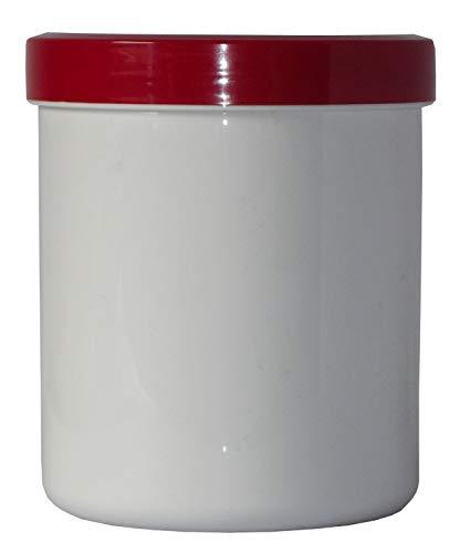 5 Salbendose Kunststoffdosen 500 g 625 ml Deckel rot Salbendöschen