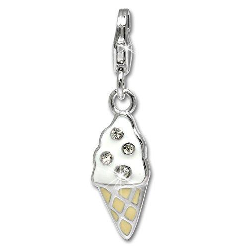 SilberDream Exclusive Charm-Charm Eiswaffel in Silber mit Material Kunststoff Rosa Charm für Charme Halsketten und Armbänder-Silber 925Sterling-FC626