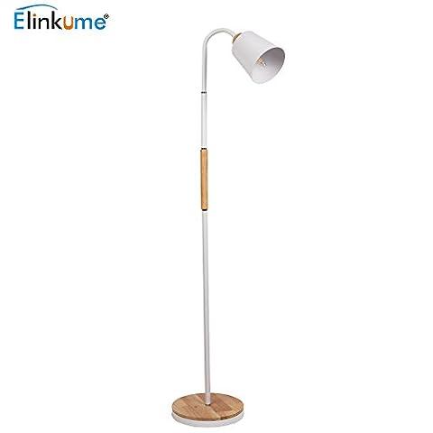 Floor Lamp Modern LED Standard Lamp Height 160CM* 25CM Wooden Base White Iron Adjustable Gooseneck Bedside Reading Floor Lamp for Living Room/ Bedroom (E27 Lamp Base,White,Button